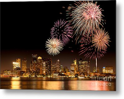 Fireworks Over Boston Harbor Metal Print