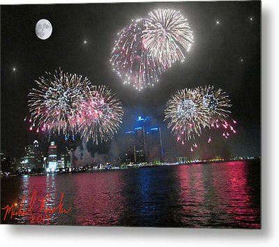 Fireworks Over Detroit Metal Print by Michael Rucker