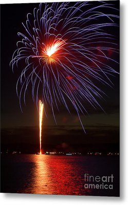 Fireworks Over Lake Metal Print