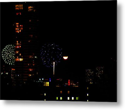 Metal Print featuring the photograph Fireworks Over Miami Moon II by J Anthony