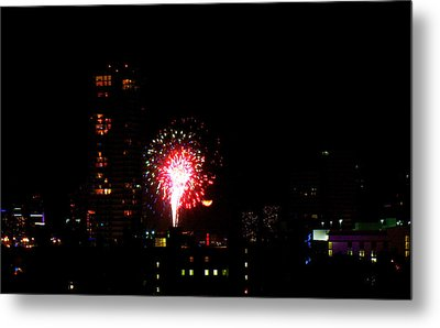 Metal Print featuring the photograph Fireworks Over Miami Moon by J Anthony
