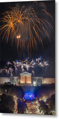 Fireworks Over The Parkway Metal Print by Bruce Neumann