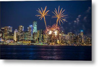 Fireworks Palm Trees Vancouver Metal Print