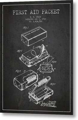 First Aid Packet Patent From 1922 - Charcoal Metal Print by Aged Pixel