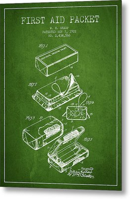 First Aid Packet Patent From 1922 - Green Metal Print by Aged Pixel
