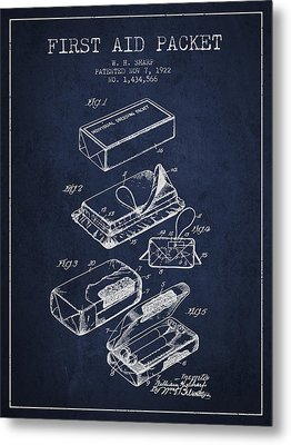 First Aid Packet Patent From 1922 - Navy Blue Metal Print by Aged Pixel