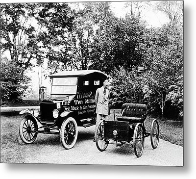 First And Ten Millionth Ford Cars Metal Print by Library Of Congress
