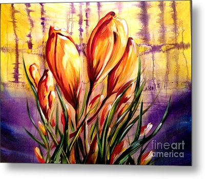 First Blooms Of Spring Metal Print by Karen  Ferrand Carroll