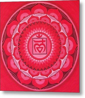 First Chakra Mandala Metal Print by Vlatka Kelc