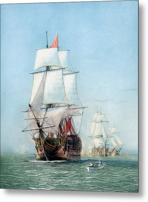 First Journey Of The Hms Victory Metal Print by War Is Hell Store