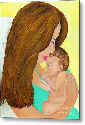 First Kiss- Mother And Newborn Baby Metal Print by Shelia Kempf