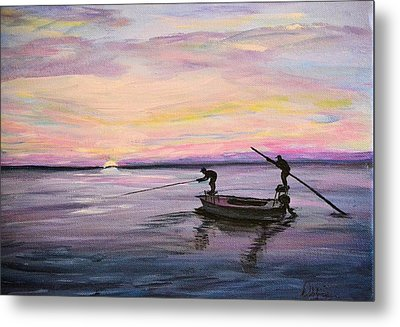 Metal Print featuring the painting First Light by Debbie Baker