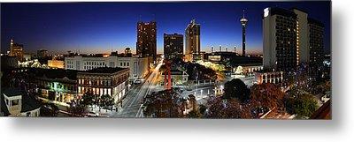 First Light On San Antonio Skyline - Texas Metal Print