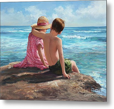 First Love By The Seashore Metal Print by Laurie Hein