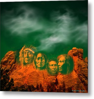 First Nations Chiefs In Mount Rushmore Metal Print by Anastasia Savage Ealy