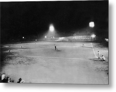 First Night Baseballl Game Metal Print by Underwood Archives