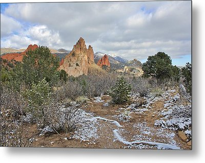 Metal Print featuring the photograph First Snow At Garden Of The Gods by Diane Alexander