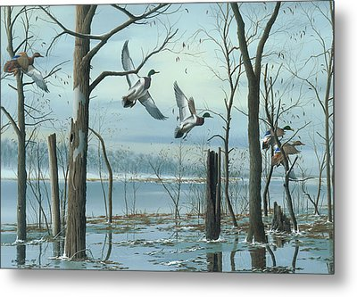 Metal Print featuring the painting First Snow by Mike Brown