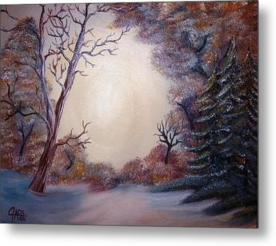 Metal Print featuring the painting First Snow by The GYPSY And DEBBIE