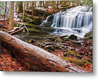 First Snow Tucker Brook Falls Metal Print by Jeff Sinon
