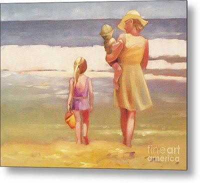 First Waves Beach Waves With Children And Mom  Metal Print by Mary Hubley