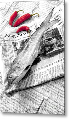 Fish And Chillies Metal Print by William Voon