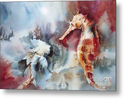 Fish And Sea Horse Metal Print by Donna Acheson-Juillet