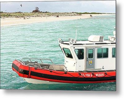 Fish And Wildlife Boat At Eastern Island Metal Print