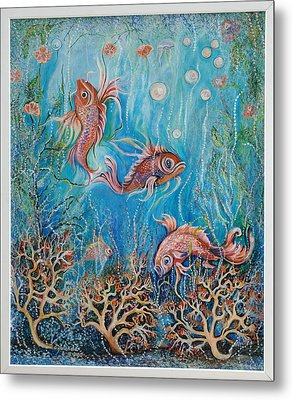 Fish In A Pond Metal Print by Yolanda Rodriguez