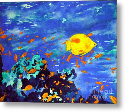 Metal Print featuring the painting Fish In The Sea by Mukta Gupta
