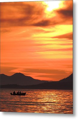 Fish Into The Sunset Metal Print