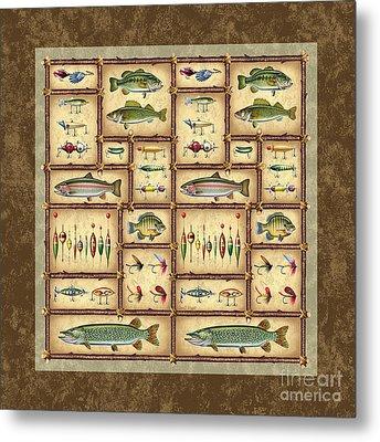Fish Sticks Square Pillow Metal Print by Jon Q Wright