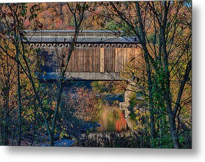 Fisher Covered Bridge In Vermont Autumn Metal Print