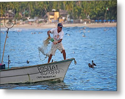 Fisher Man Throwing Net Metal Print by Camilla Fuchs