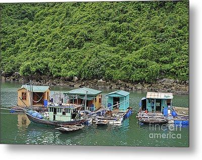 Fisherman Floatting Houses Metal Print by Sami Sarkis