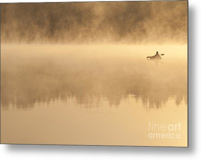 Fisherman In Kayak, Lake Cassidy Metal Print