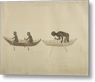 Fisherman In Small Wooden Canoes Metal Print