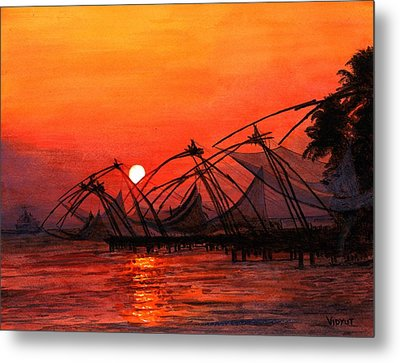 Fisherman Sunset In Kerala-india Metal Print