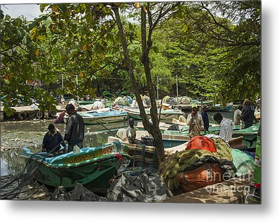 Fishermen And Their Boats Metal Print