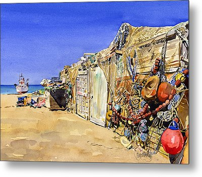 Fishermen's Huts At San Miguel Metal Print by Margaret Merry