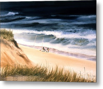 Metal Print featuring the painting Fishermen's Wait by Karol Wyckoff