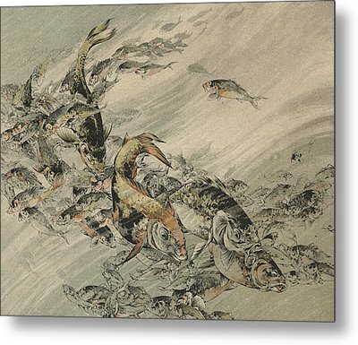 Fishes Metal Print by Jules-Auguste Habert-Dys