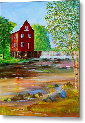 Fishin' At The Old Mill Metal Print by Chris Fraser