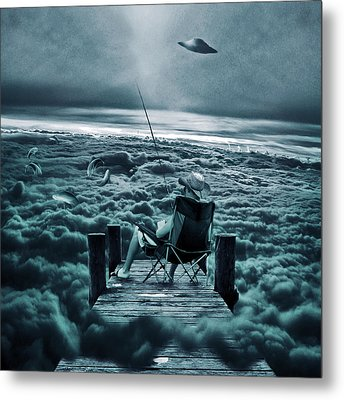Fishing Above The Clouds Metal Print by Marian Voicu