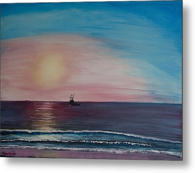 Metal Print featuring the painting Fishing Alone At Night by Ian Donley