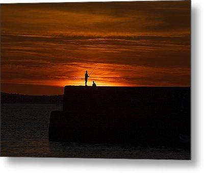 Fishing As Sunset Metal Print by Tony Reddington