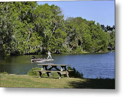 Fishing At Ponce De Leon Springs Fl Metal Print by Christine Till
