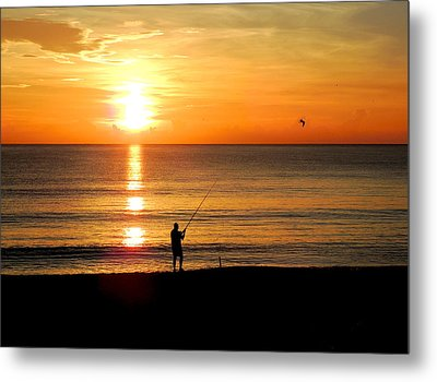 Fishing At Sunrise Metal Print