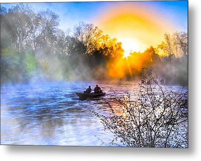Fishing At Sunrise On The Flint River Metal Print by Mark E Tisdale