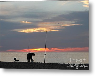 Metal Print featuring the photograph Fishing At Sunrise by Robert Banach